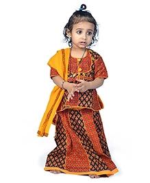 Little India Lehenga Choli With Dupatta Bagru Design - Multi Colour
