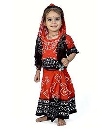 Little India Lehenga Choli With Dupatta Bandhej Print - Red And Coffee Brown