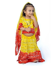 Little India Lehenga Choli With Dupatta - Red And Yellow