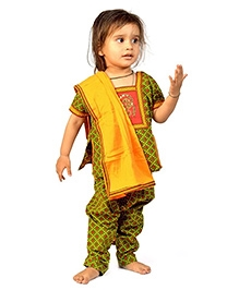 Little India Salwar Suit With Dupatta Bagru Print - Green And Yellow