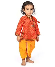 Little India Angrakha And Dhoti Floral Print - Red And Yellow