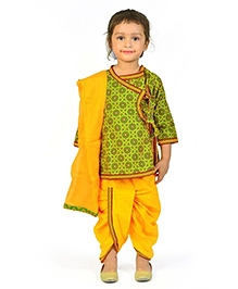 Little India Angrakha And Dhoti With Dupatta - Green And Yellow