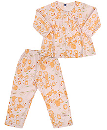 Teddy Full Sleeves All Over Print Night Suit - Peach