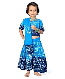Little India Lehenga Choli With Dupatta Bandhej Print - Blue And Turquoise