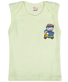 Little Darlings Sleeveless Vests With Boy Print - Light Green