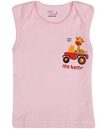 Little Darlings Sleeveless Vests With My Home Print - Pink
