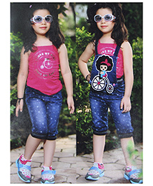 N - XT Singlet Top And Convertible Dungaree Knee Length Pants - Pink And Blue