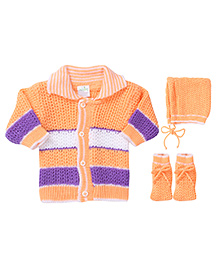 Babyhug Winter Ware Set Stripe Pattern - Peach