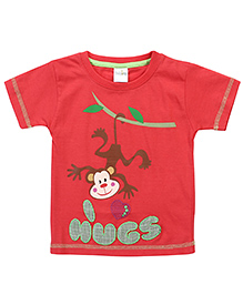 Babyhug Half Sleeves Monkey Print T-Shirt - Red