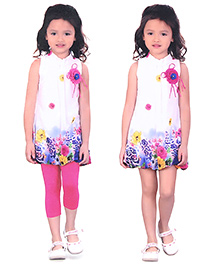N-XT Tunic Top And Leggings Floral Applique - White Pink