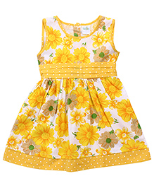 Babyhug All Over Floral Print Frock - Yellow