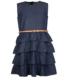 My Lil Berry Sleeveless Layered Denim Frock With Belt - Blue