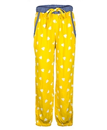 My Lil Berry Relaxed Fit Pants Heart Print - Yellow