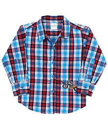 Babyhug Full Sleeves Plaid Shirt Bike Patch - Aqua And Red