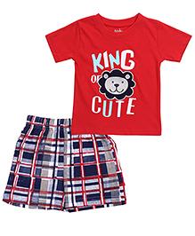 Babyhug T-Shirt And Shorts Lion Print - Red Navy