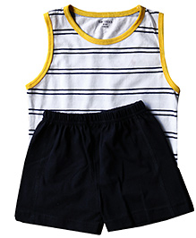 Babys Locker Yellow Rib Striped Sando & Shorts Set
