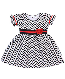 Babyhug Round Neck Frock Zig Zag Print - Black And White