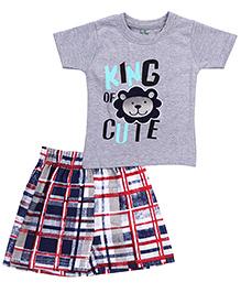Babyhug T-Shirt And Shorts Lion Print - Grey Navy