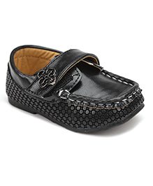 Cute Walk Velcro Closure Loafers - Black