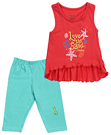 Babyhug Sleeveless Ruffle Top And Capri - Red Emerald