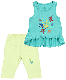 Babyhug Sleeveless Ruffle Top And Capri - Light Green Lime