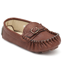 Cute Walk Slip-On Loafers Belt Pattern - Coffee Brown