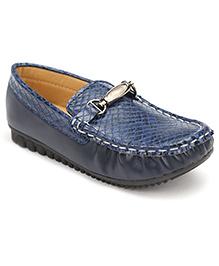 Cute Walk Slip-On Loafers Buckle Design - Navy Blue