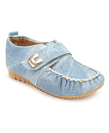 Cute Walk Velcro Closure Loafers - Blue