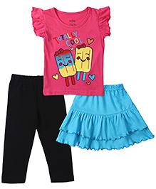 Babyhug Printed Top, Plain Skirt And Legging Set - Multicolou