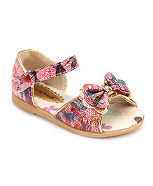 Cute Walk Studded Bow Applique Sandals - Red And Multicolor