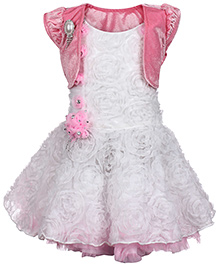 Babyhug Party Wear Dress With Shrug - White And Pink