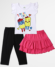 Babyhug Printed Top Plain Skirt And Legging Set - Multicolour