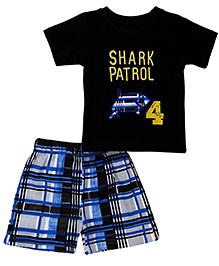 Babyhug Half Sleeves T-Shirt And Shorts Shark Embroidery - Black Blue