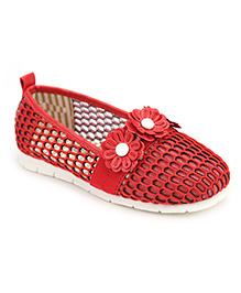 Cute Walk Net Belly Shoes Flower Motif - Red