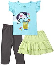 Babyhug Printed Top Plain Skirt And Legging Set - Multicolour