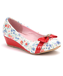 Cute Walk Belly Shoes Floral And Bow - Red
