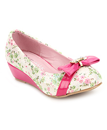 Cute Walk Belly Shoes Floral And Bow - Pink