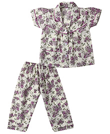 Yellow Duck Short Sleeves Nightsuit - Purple