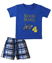 Babyhug Half Sleeves T-Shirt And Shorts Shark Embroidery - Royal Blue