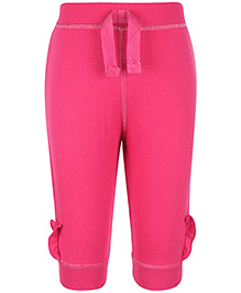 Cucumber Full Length Leggings Ruffle Detailing - Dark Pink
