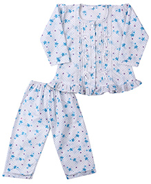 Yellow Duck Full Sleeves Nightsuit - White And Blue