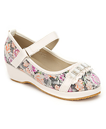 Cute Walk Studded And Floral Design Belly Shoes - White