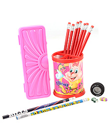 Mr. Clean Stationery Set Pink And Red - 14 Pieces