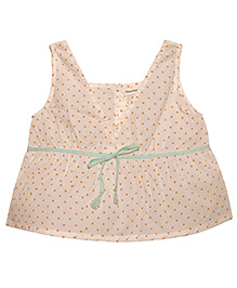 Bhali White Top With Peach Dots