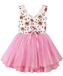 Tickles 4 U Dress Kids Floral Printed Billowing Tulle Sleeveless Vest Dress - Pink