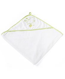 Pebbles Hooded Towel White Base - Green