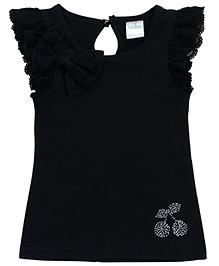 Babyhug Lace Sleeve And Bow Top - Black