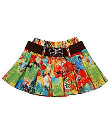 Babyhug Pleated Skirt With Belt - Multicolor