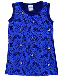 Babyhug Sleeveless Lace Studded Top - Royal Blue