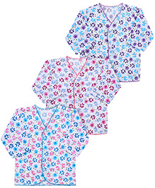 Babyhug Full Sleeves Jhabla White Base Set Of 3 - Pink Purple Blue